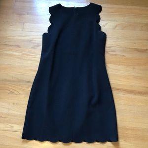 JCrew black scalloped edge dress